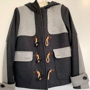 Jcrew Toggle Grey Colorblock Wool Duffle Coat